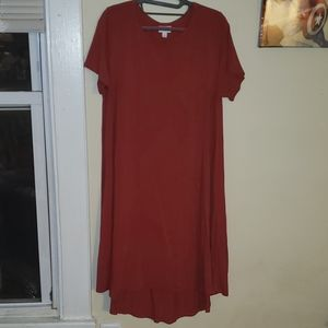 LuLaRoe Solid Red Carly Dress